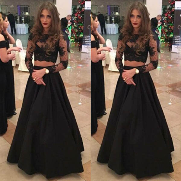 Two Piece A Line Floor Length Lace Long Sleeves Black Prom Dress On