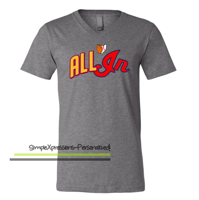 e9e98261f Cleveland ALL IN Cavs Indians Adult T-shirt · SimpleXpressions ...