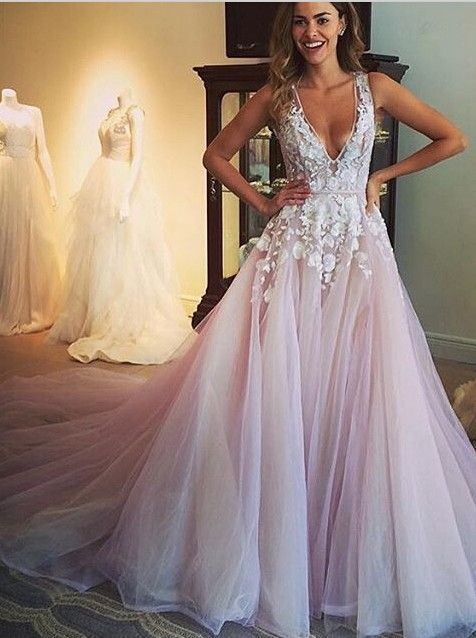 efa1c789130 V-neck Long Prom Dress Formal Dresses Wedding Dress · Promtailor ...