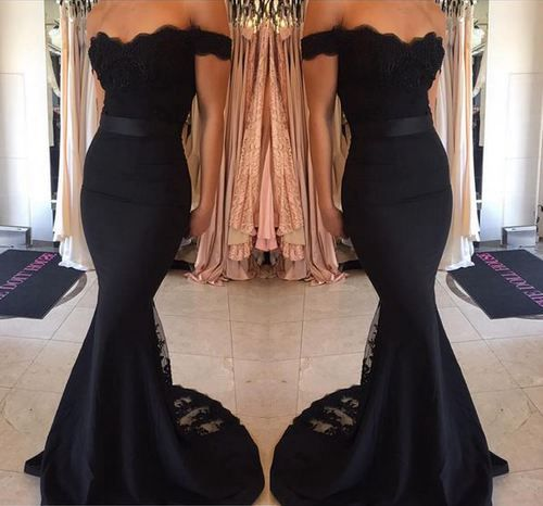 Black prom dress,Lace prom gown,2016