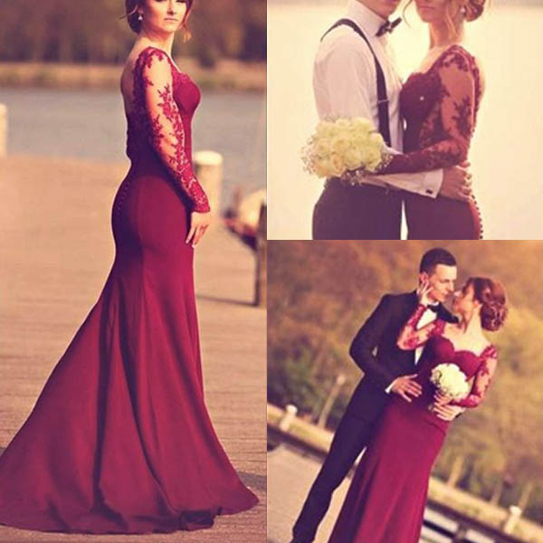 173f5139cc Elegant Mermaid Square Neck Long Sleeves Burgundy Long Prom Dress With Lace  on Storenvy