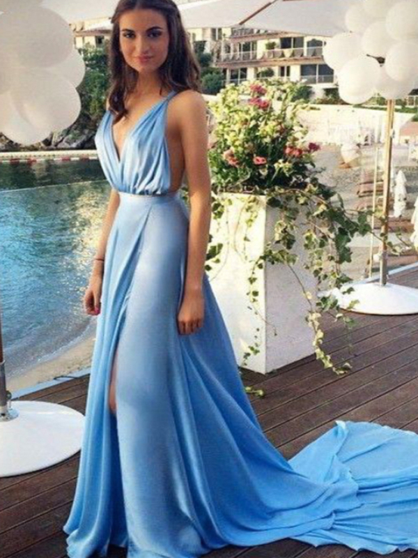 62b599f237f34 Long Custom Prom Dress,Blue prom dress, Deep V-Neck prom dress ...