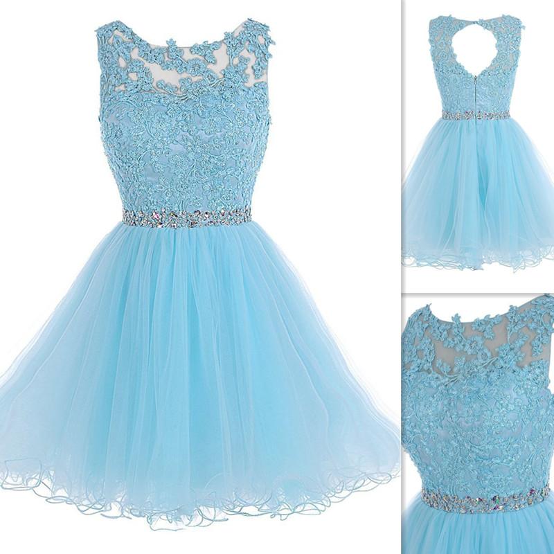 Lace Appliques Short Prom Dresses, Light Blue Appliques Prom Gowns ...