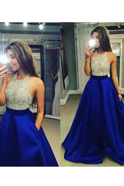 Long a Line Halter Prom Dresses