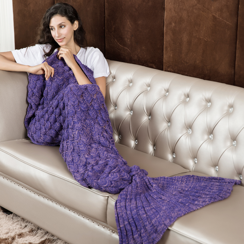 Knitted Purple Mermaid Tail Blanket Crochet Mermaid Tail Mermaid