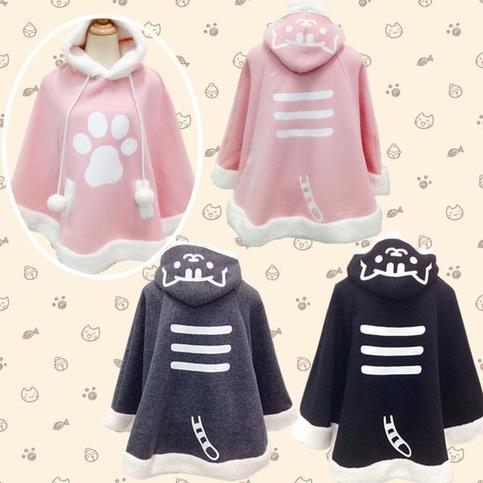 Kawaii Cat Hoodie Cloak Cape Sp168284 On Storenvy