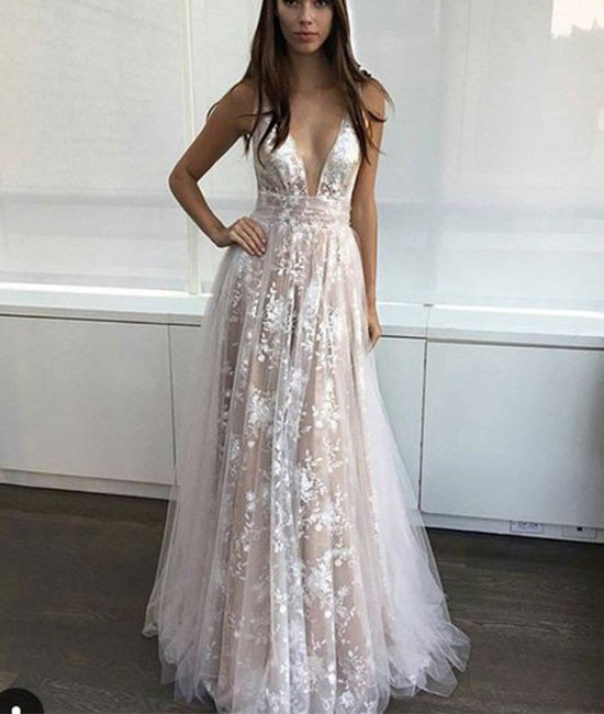19b013550c86 simple v neck tulle lace long prom dress. lace evening dress ...