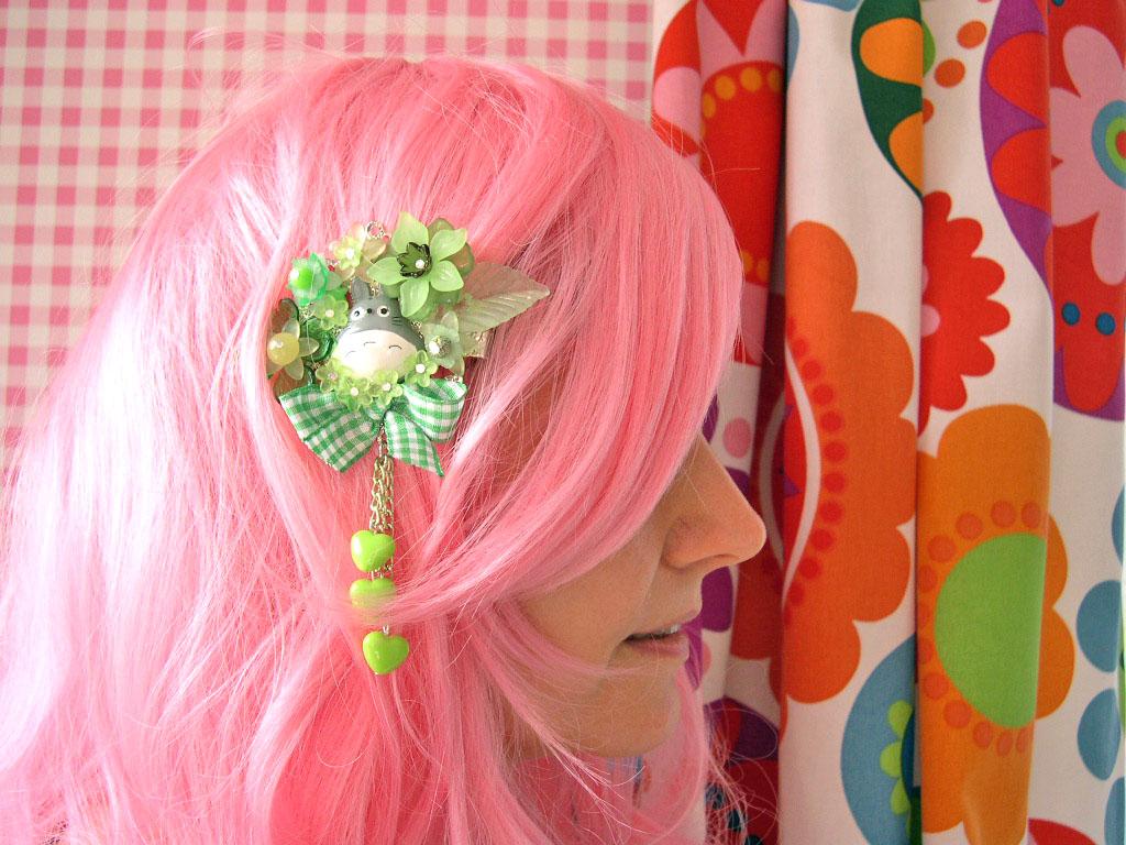 Hair Clip Kawaii Fairy Kei Lolita Accessory Totoro Kanzashi Green