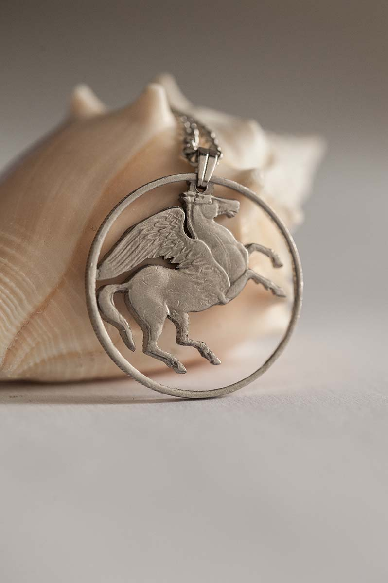 Greece Cut Coin Necklace in Silver Colour  Greek Coin, 10 Drachma, 1973   Handmade, Pegasus, Greek Mythology, Winged Horse sold by Ategina