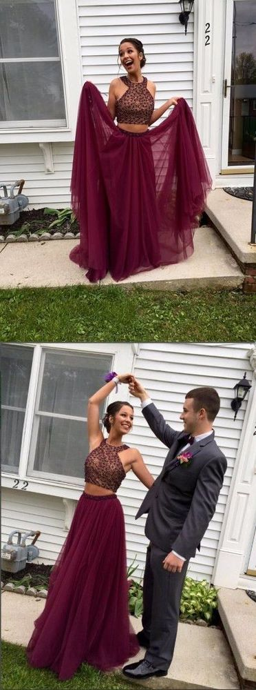 Two Pieces Halter Maroon Open Back Burgundy Prom Evening