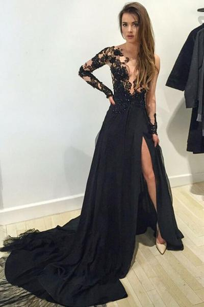 Sexy Long Sleeves Lace Appliques Black Long Formal Lace Evening Prom