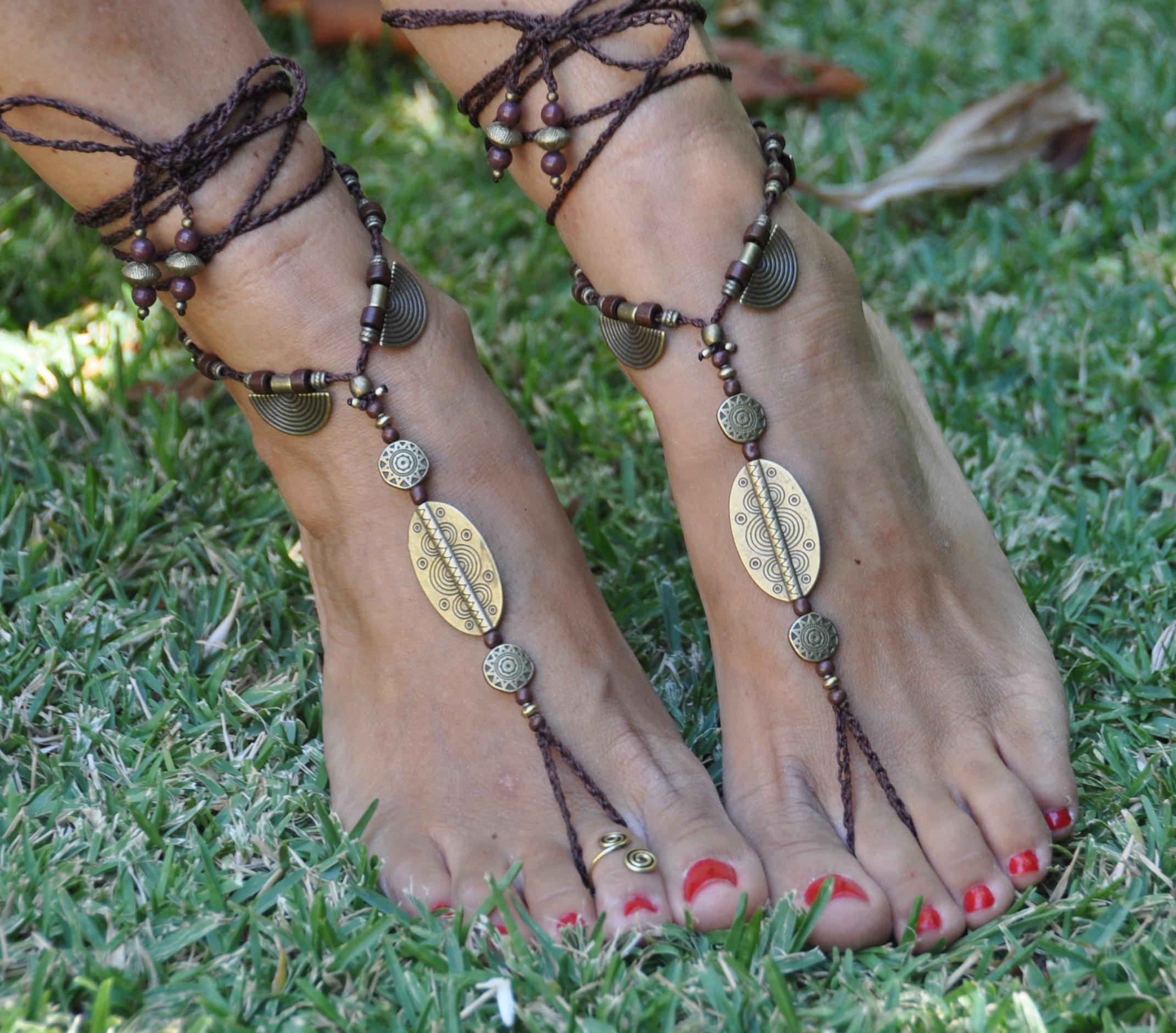 Foot jewelry Beaded crochet,Yoga accessories,Ethnic Tribal Wear BROWN Choco/&Coffee BAREFOOT SANDALS Hippie Beach Wedding