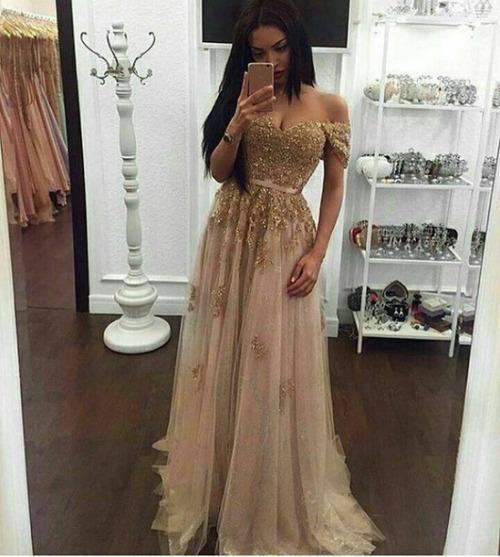 Off The Shoulder Gold Prom Dresslong Prom Dressescharming Prom