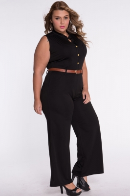bd74e7f7d71 Women s New Fashion Black Belted Wide Leg Jumpsuit FREE DELIVERY on ...