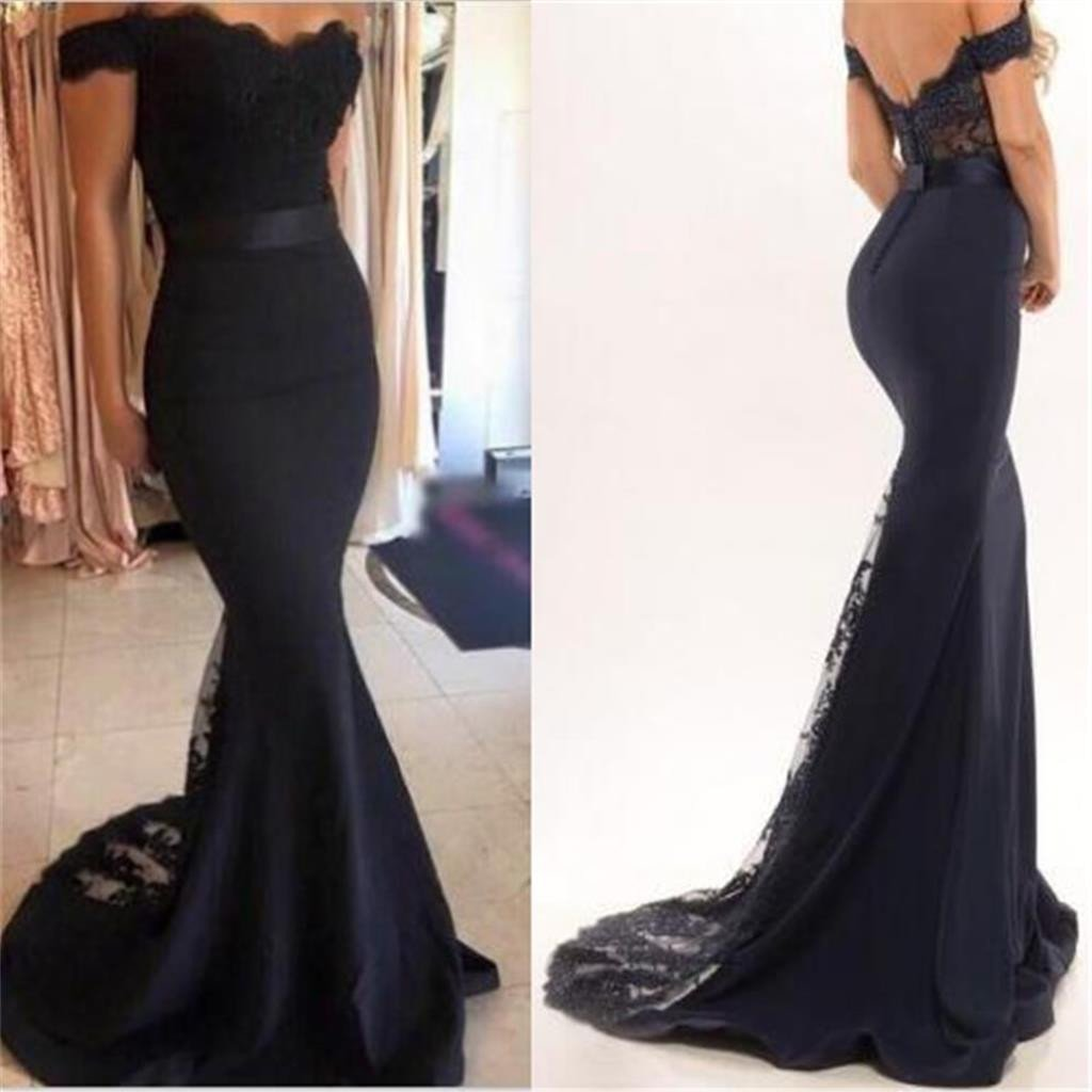 29c4d138a361 2017 Black off shoulder lace prom dresses, Long sexy mermaid prom dresses,  Cheap Popular