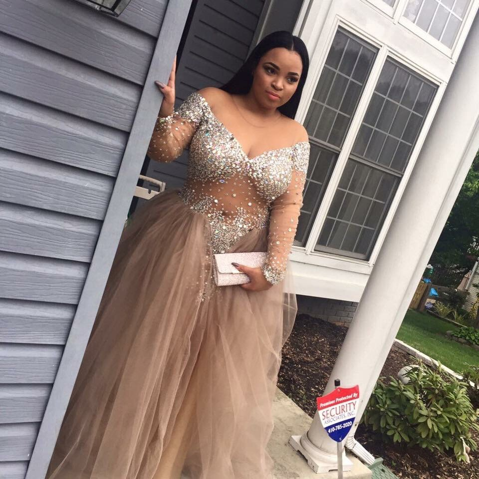 841b918578a Sexy Plus Size Off-The-Shoulder Long Sleeves Champagne Long Prom ...