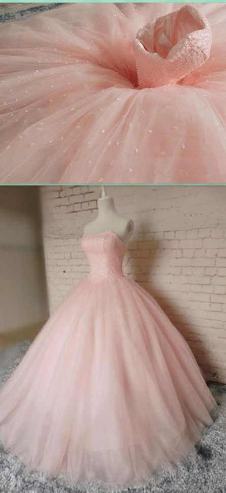 New Pink Ball Gown Beading Prom Dress,Long Prom Dresses,Charming ...