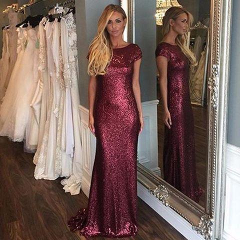 464d4861 Burgundy Sequin Sheath Prom Dress,Long Party Dress Cap Sleeve ...