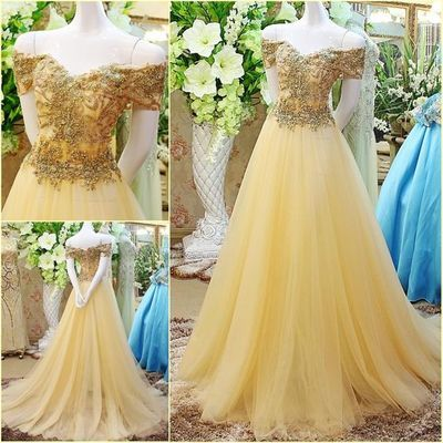 Prom Gowns Off The Shoulder Gold Long Prom DressTulle Evening DressBall Gown Prom Dresses For