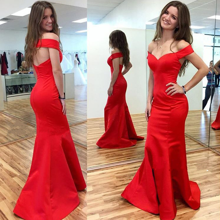 09954d13234c Cheap Backless Red Prom Dresses Off the Shoulder Mermaid Prom Dress,Open  Back Simple Evening Dresses,Sexy Long Evening Prom Gowns on Storenvy