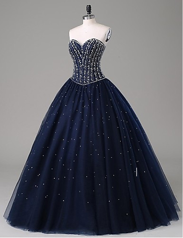 Hot Sales Navy Blue Ball Gown Prom Dresses Sweetheart