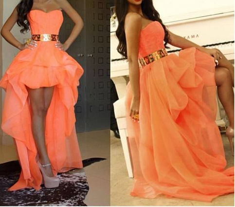 Sexy High Low Sweetheart Gold Belt Long Orange Prom