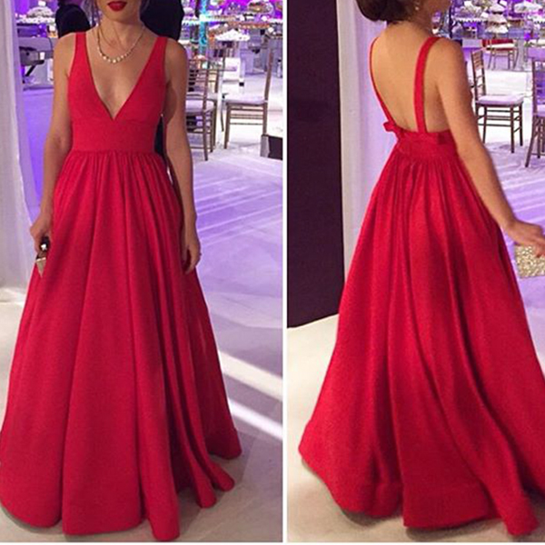 Deep V Neck Sleeveless Backless Red Evening Dresses Prom Gownsoff