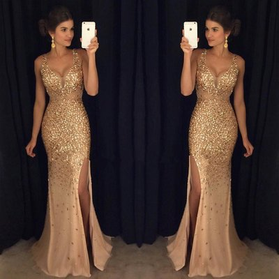 12102ed2b6 Sexy champagne gold prom dresses graduation party dresses party dresses  pg0002