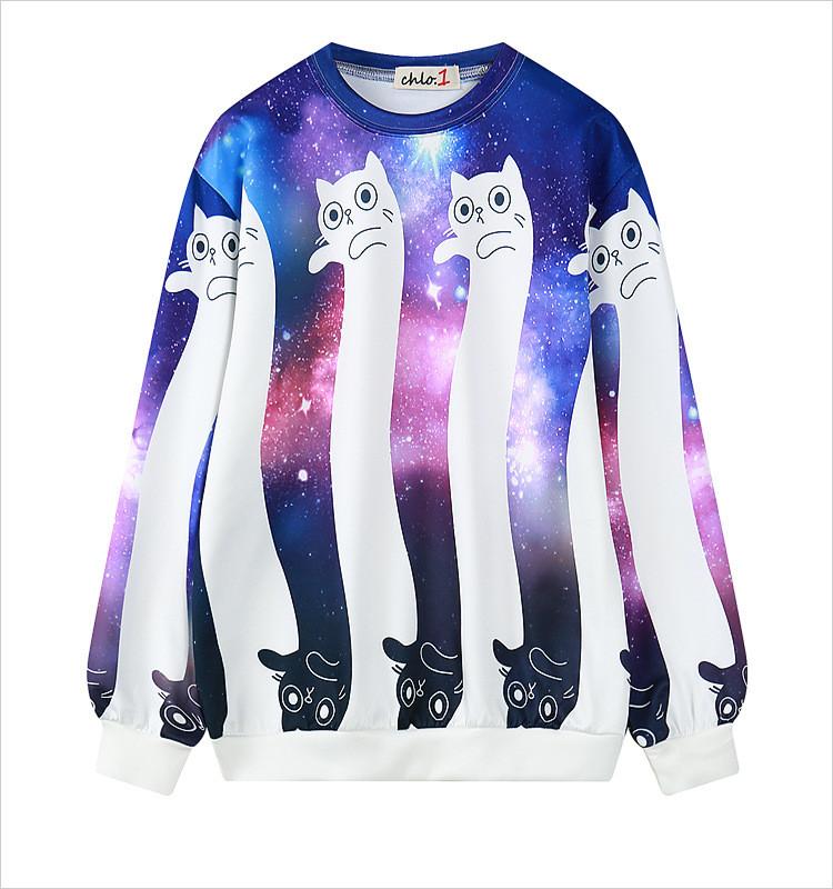 nuevo producto 31fbc ed4ef Sudadera Gato Galaxia / Galaxy Cat Sweatshirt WH299