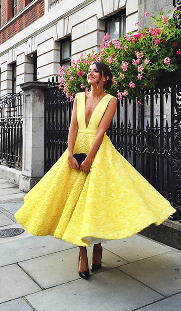 Cute Yellow Lace Tea Length Prom Dress Yellow Evening
