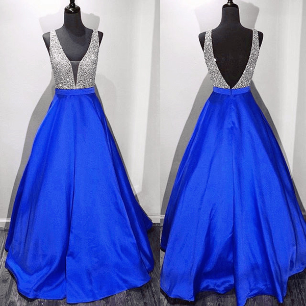 Royal Blue Deep V Neck Backless Ball Gown Prom Dresses,Off the ...