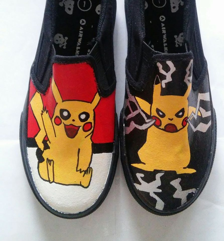 3b0f82f8e1436 Pikachu hand painted shoes from Heart and Soles