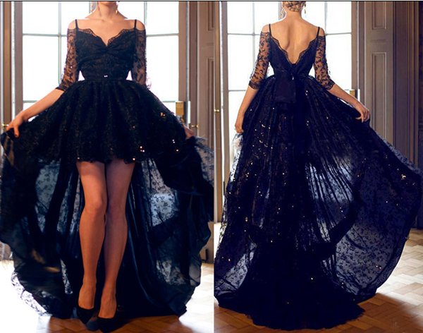 0af169977 Hot Sales A Line Black Lace Prom Dresses
