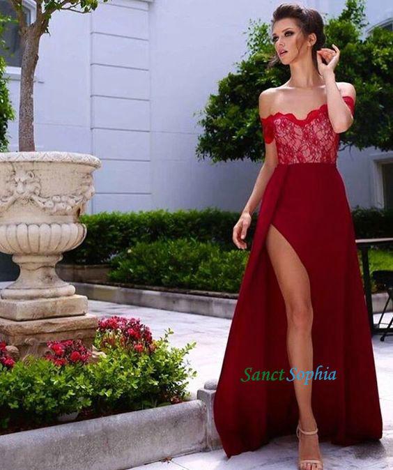eecc18451d Long A-line Off Shoulder Sleeves Burgundy Bridesmaid Dress