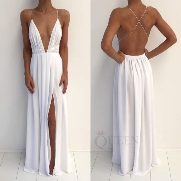 d1291d20b97 White 20chiffon 20deep 20v neck 20floor 20length 20slit 20spaghetti 20strap  20maxi 20long 20prom 20dress 20with 20open