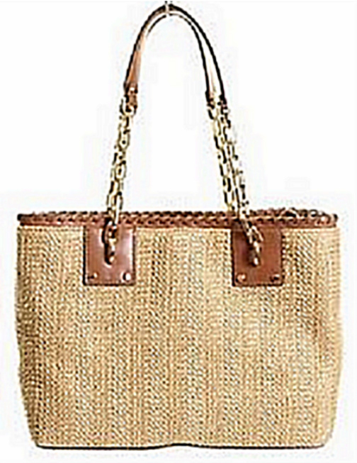 0321edbcd7e2 Authentic Michael Kors Walnut Straw Rosalie Medium EW Tote Handbag ...