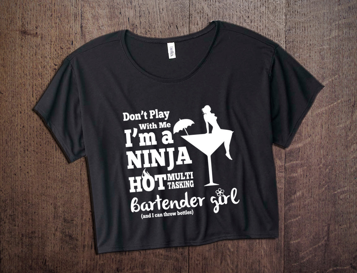 bc5672df Funny Bartender Shirt, Bartender Girl, Black Cropped Top, Mixology ...