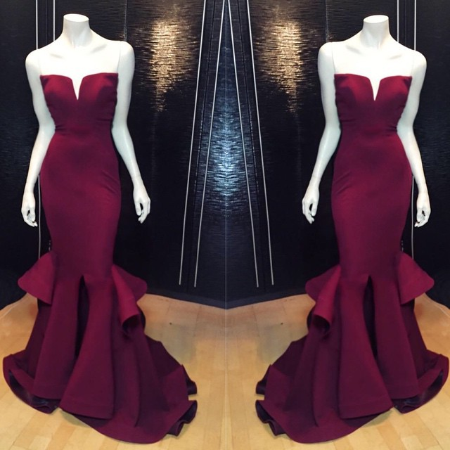 Classical Maroon Mermaid Prom Dresses Notched Neckline Front Split