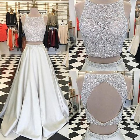15ed0e95b8 Shiny two pieces beading long prom dress,evening dresses from Dream Prom
