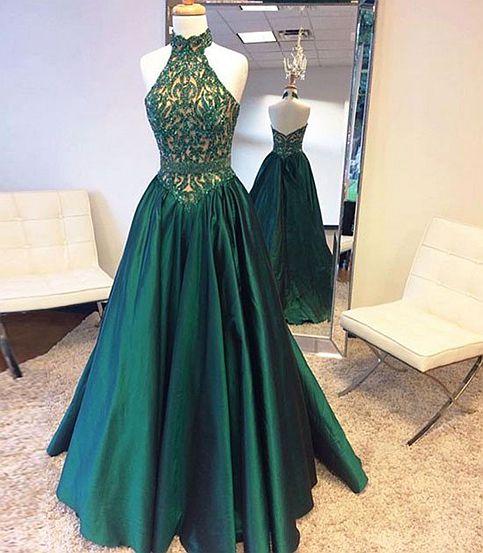 Elegant green high neck long prom dress,green evening dresses from Dream  Prom