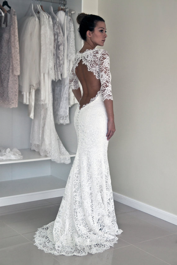 Floor Length Sheath Keyhole Back Half Sleeves Lace Wedding Dress ...