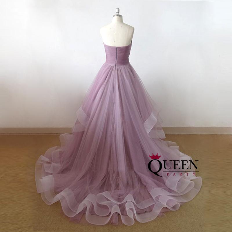 Designer Lavender Tulle Sweetheart Ruche Ball Gown Long Prom Dress ...