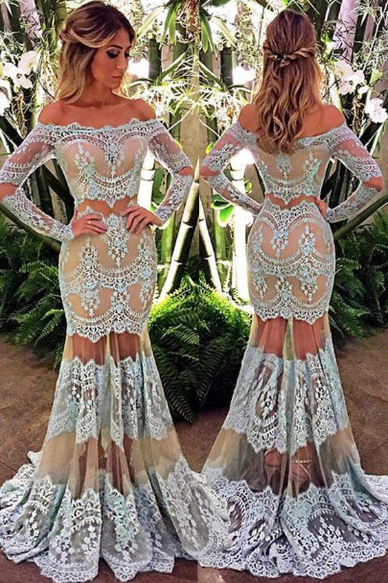 Long Length Long Sleeve Lace Prom Dresses