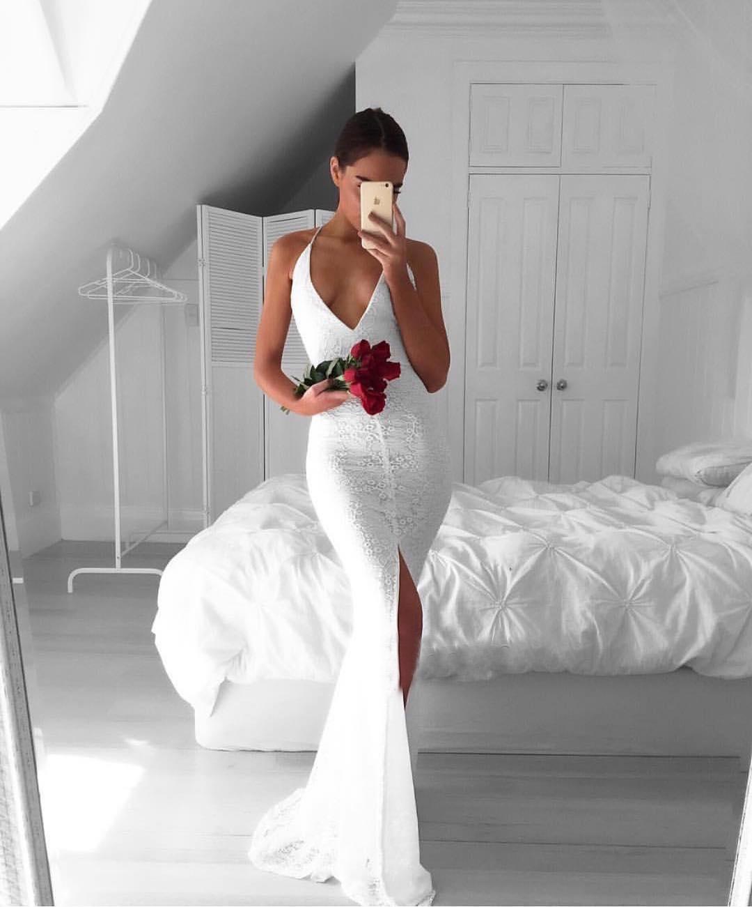 Charming Mermaid V-Neck White Long Prom/Wedding Dress with Split ...
