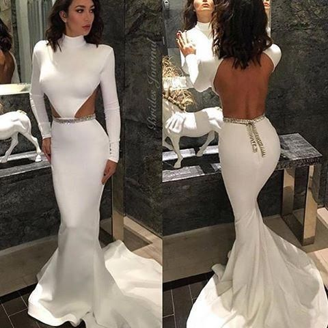 White Mermaid Prom Dresses Long Sleeves Backless Evening Gowns ...