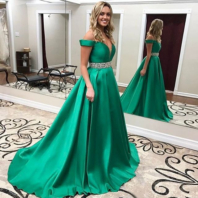33a9ead99fac Green Off The Shoulder Prom Gown