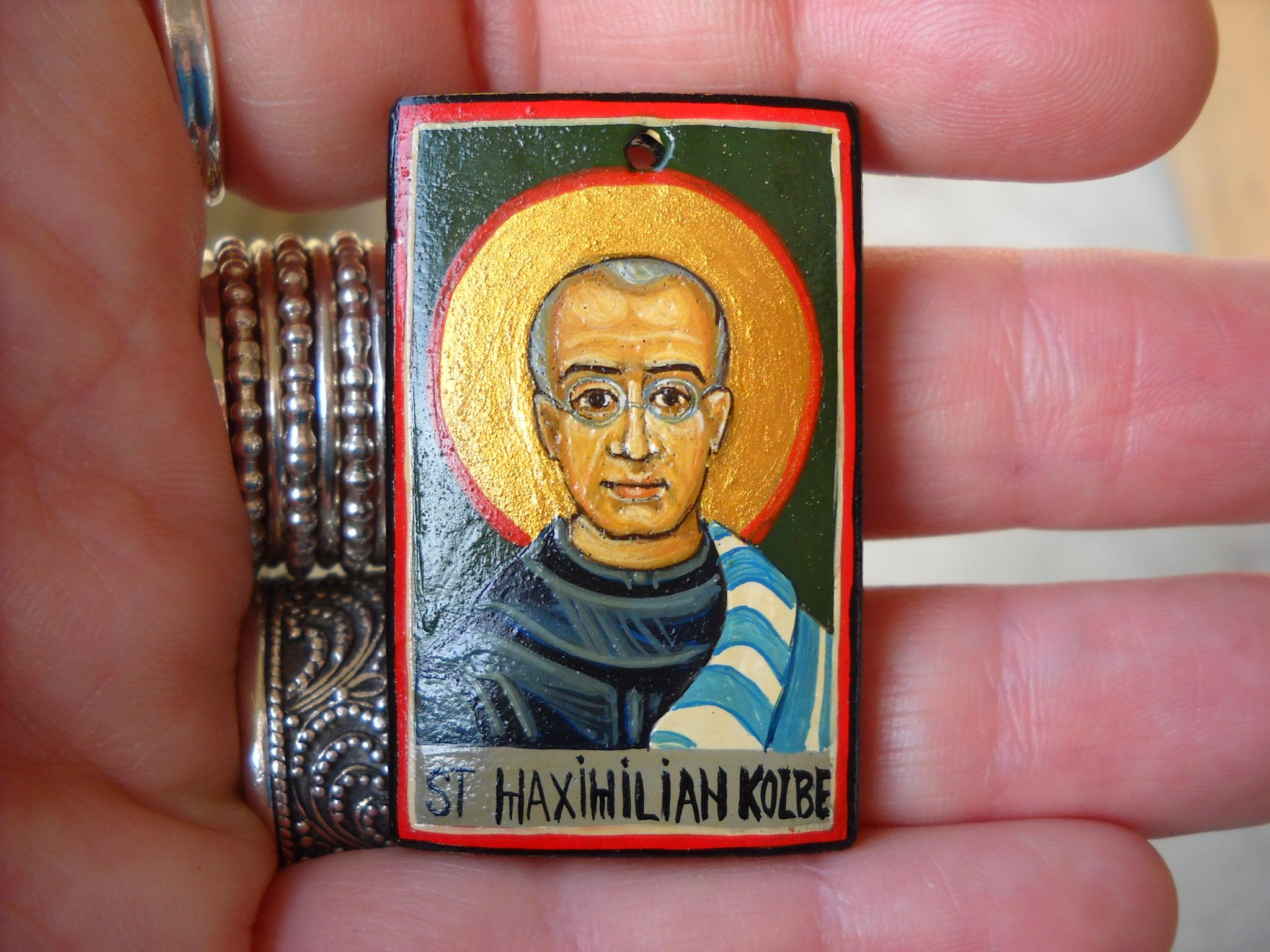 Saint Maximilian Kolbe- Catholic Miniature icon- Roman Catholic Saint  Addiction Recovery Necklace  Drug Addicts, Prisoners  Catholic Jewelry from  Hand