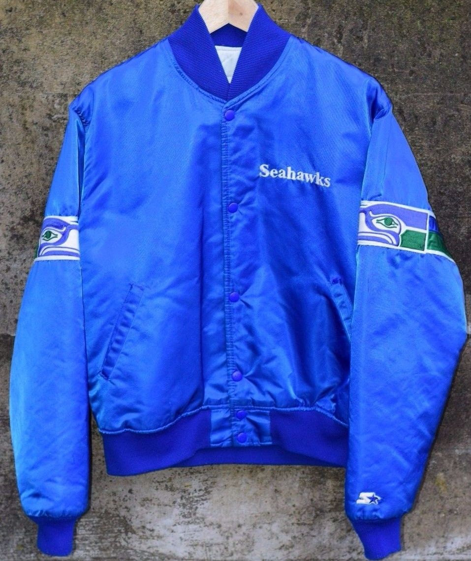 new style c7997 f8a17 Vintage Seattle Seahawks Starter Jacket Satin Coat Button Up Made in USA  Mens Medium from BucksVintage