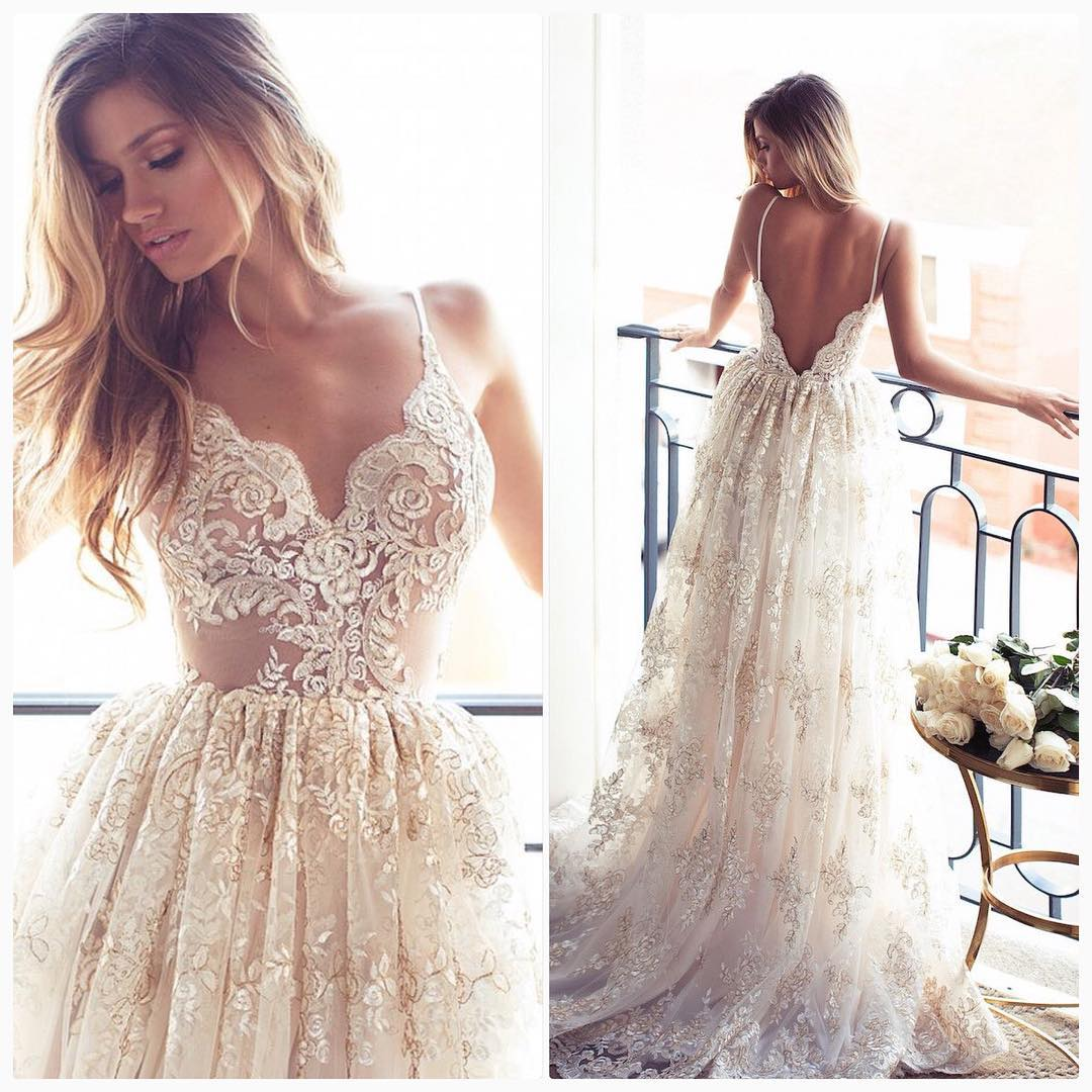 Romantic A-line Strapless Long Lace Wedding Dress