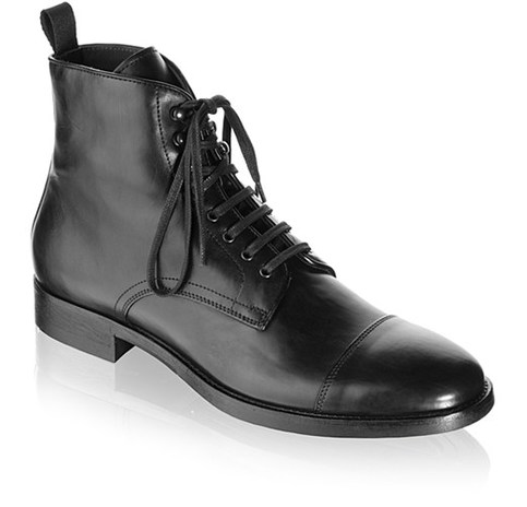 Handmade Men Black Cap Toe Lace Up Military Ankle Leather
